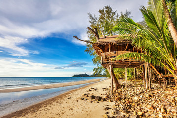 Cheap bungalows on a tropical beach