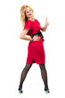 Beautiful Busyness Woman Blonde in red dress with thumbs up