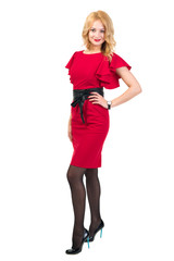 Beautiful Busyness Woman Blonde in red dress isolated on white