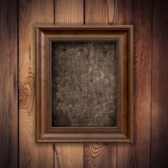Frame picture vintage with grunge on wood background and texture