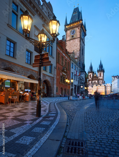 Tuinposter Praag Old City Hall on the Town Square in Prague