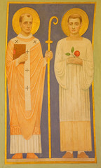 Vienna - Fresco of the saints Cyril and Methodius