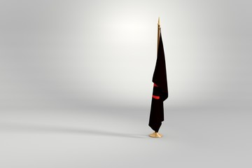 Anarchist isolated flag on a wooden mast 3d illustration
