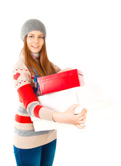 Attractive young woman with boxes and good, happy emotion - isol