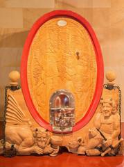 Trnava - Carved cask in modern wine cellar