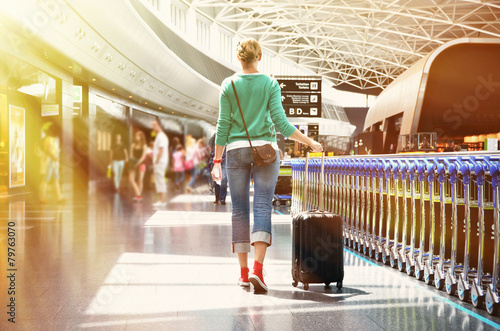 canvas print picture Girl in the airport