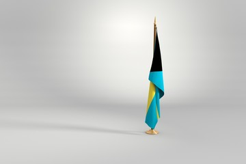 Bahamas isolated flag on a wooden mast 3d illustration
