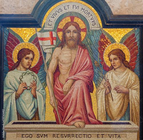 Jerusalem - mosaic of resurrection of Jesus in st. George church - 79763682
