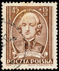 Stamp printed in Poland shows Hugo Kollataj