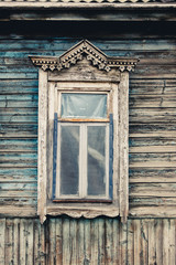 Old wooden window. Russian traditional style