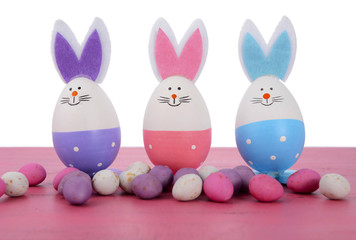Pink, purple and blue Easter bunny eggs