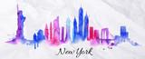 Silhouette watercolor New york