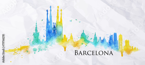 Silhouette watercolor Barcelona - 79766218