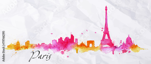 Silhouette watercolor Paris - 79766290