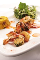grilled prawns with couscous