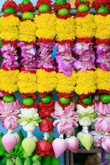 flowers hand decorated for Hindu temple praying