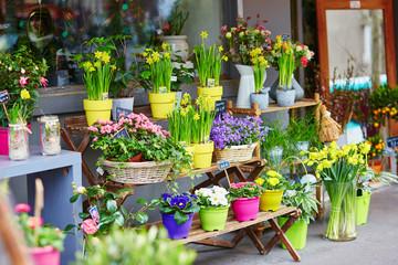 Outdoor flower market on a Parisian street