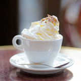 Cup of coffee or hot chocolate with whipped cream - 79768206