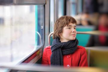 Beautiful girl in Parisian metro