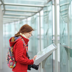 Young woman on observation deck in Montparnasse building