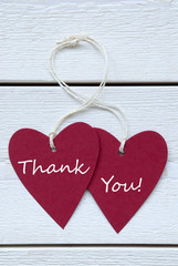 Two Hearts Label With Thank You Vertical