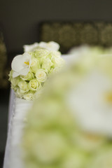 Image of bouquet of flowers on table in hotel