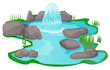 Natural spring pond vector - 79768845