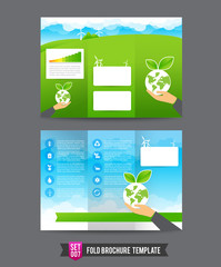 Fold Brochure background template 0007 Eco concept