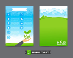 Flyer Brochure background template 0007 Ecology concept