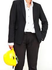 International business concept. engineer holding helmet