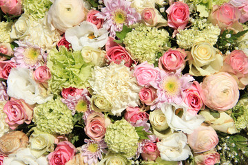 Pink, green and white bridal arrangement