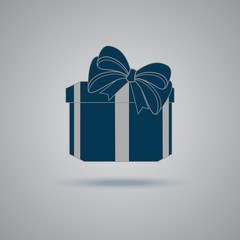 mbol,gift, box, blue, sign, icon, present, vector, illustration