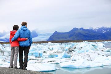 Tourists couple romantic on Iceland Jokulsarlon