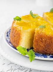 Orange Upside Down Cake with vanilla and honey