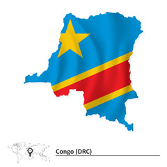 Map of Democratic Republic of the Congo with flag