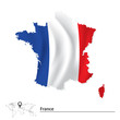 Map of France with flag - 79770628