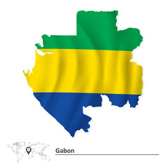 Map of Gabon with flag