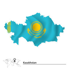 Map of Kazakhstan with flag