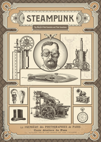 steampunk card or poster - various design elements
