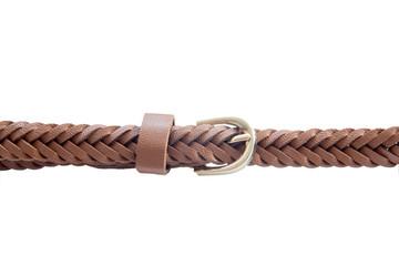Пряжка плетеного коричневого ремня