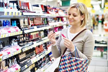 Woman chooses pink liquid lipstick