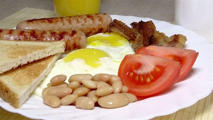 Traditional English breakfast on a white plate