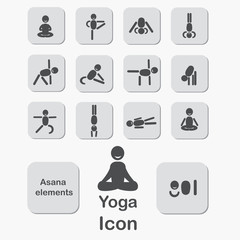 Set of icons. Poses yoga asanas. Vector.