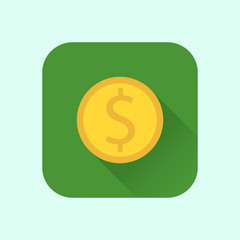 icon coins into flat style