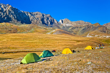 camp in the mountains in autumn