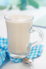 ryazhenka in glass mug