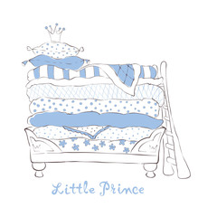 Bed for the little Prince on the pea - vector illustration