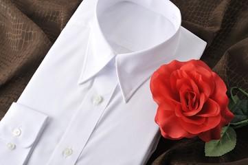 バラと白いシャツ