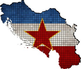 Yugoslavia map with flag inside