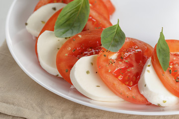 classic caprese salad on plate close up